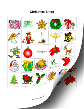 these free printable christmas bingo cards feature colorful festive pictures of a jolly santa claus red poinsettias shining bells and other christmas - Christmas Bingo For Kids
