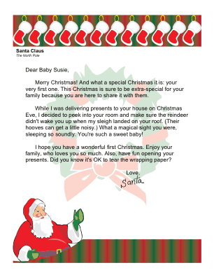 Christmas Morning Letter from Santa for First Christmas