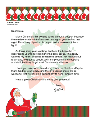Christmas Morning Letter from Santa with Religious Theme