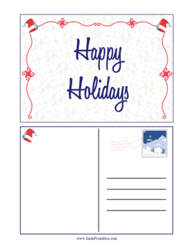 Happy Holidays Santa Hat Postcard
