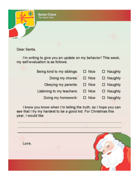 Letter To Santa Behavior Checklist