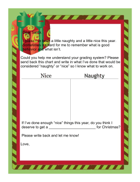 Letter to Santa Naughty or Nice