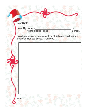 Letter to Santa with Drawing