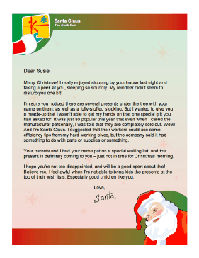 Merry Christmas Letter T.Letter From Santa When Present Will Be Late