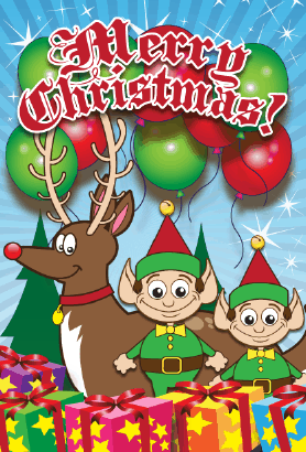 Santa Elves Christmas Card