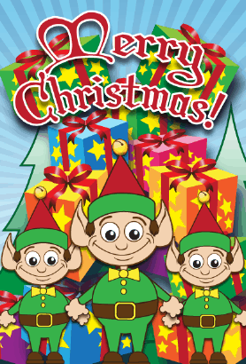 Santa Elves Packages Christmas Card