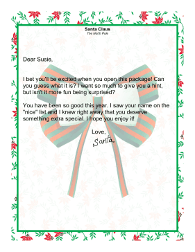 Letter from Santa Claus About a Special Gift