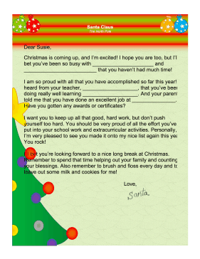 Santa Letter Accomplishments