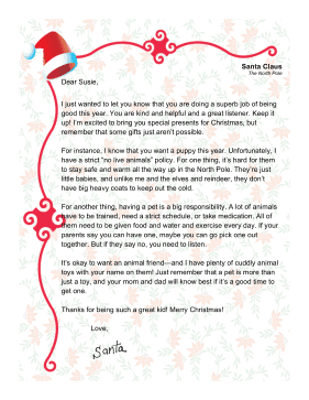 Santa Letter Asking For Pet
