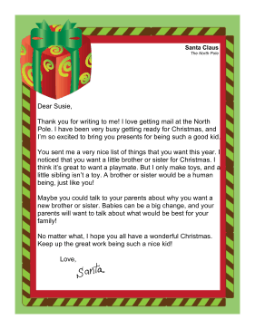 Santa Letter Asking For Sibling