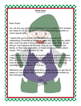 Letter from Santa Claus to a Child Away From Home