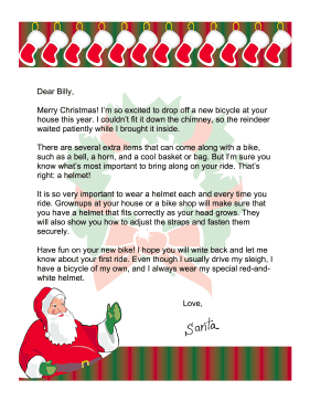 Santa Letter Bike Safety