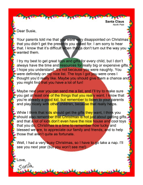 Santa Letter Child Didn't Get Desired Present
