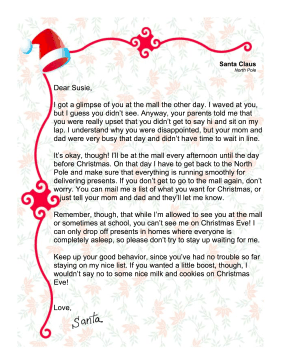 Santa Letter Child Didn't Get To Sit On Lap