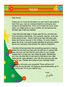 Letter from Santa when Father is Away