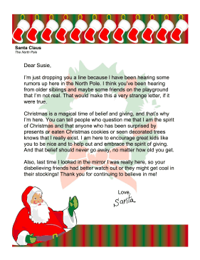 Santa Letter Discourage Disbelief