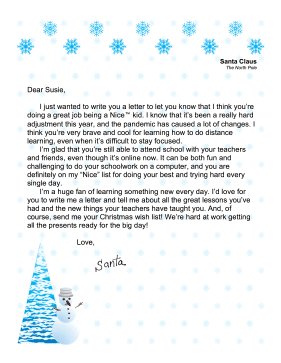 Santa Letter Distance Learning