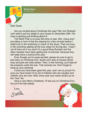 letter to child about santa letter from santa to an excited child 23188