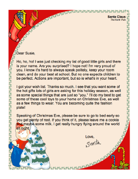 From santa to a girl letter from santa to a girl spiritdancerdesigns Gallery