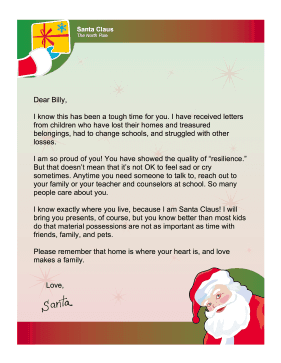 Santa Letter Natural Disaster