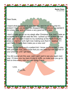 Santa Letter Replacing Toy