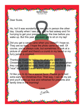 Letter from Santa Claus about Meeting Child
