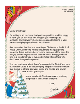 Merry Christmas Letter T.Santa Letter True Meaning Of Christmas