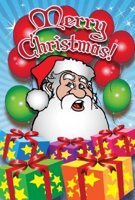 Santa Packages Christmas Card