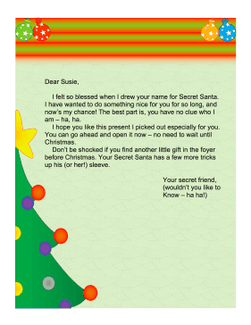 secret santa email template - secret santa letter church