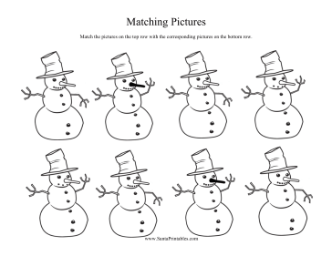 Snowman Matching Coloring Page
