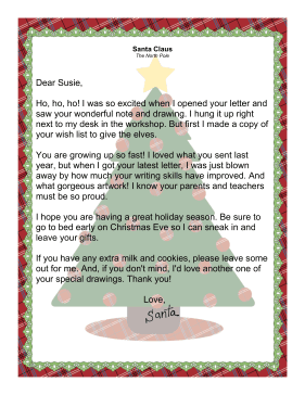 letter from santa claus acknowledging receipt of letter from child