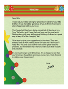Santa Letter Thanking for Generosity